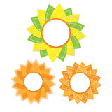Bright sunny den. Fine sticker in the form of a bright sunflower den Royalty Free Stock Images