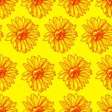 Bright sunny floral seamless pattern with sunflowers. Orange outline on yellow background, sketch, doodle style. Vector hand drawing illustration of a floral Royalty Free Stock Photo