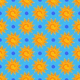 Bright Sunny Seamless Pattern Of Hand-drawn Yellow Suns On Light Blue Backdrop Royalty Free Stock Photos