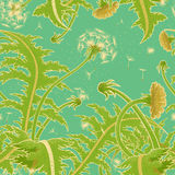 Bright sunny vector seamless pattern of a field of dandelion growing on the background of turquoise sky. Blowball fly in the wind. Flower backdrop for printing Royalty Free Stock Photo