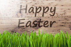 Bright Sunny Wooden Background, Gras, Text Happy Easter Royalty Free Stock Images