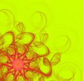 Bright sunny yellow background. With a scarlet floral abstract pattern Stock Photo