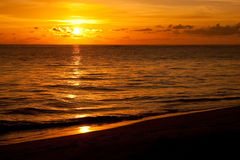 Bright Sunrise In Early Morning With Sand Beach Royalty Free Stock Photo