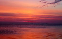 Bright sunrise over the Baltic Sea in Poland. Red colorful morning Royalty Free Stock Photography