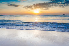 Bright sunrise over on the beach Royalty Free Stock Images