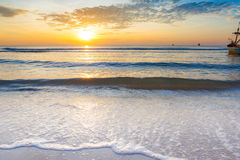Bright sunrise over on the beach Royalty Free Stock Photos
