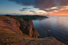 Bright sunrise over the coast of the East Sea. Stock Images