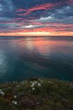 Bright sunrise over the coast of the East Sea. Stock Photo