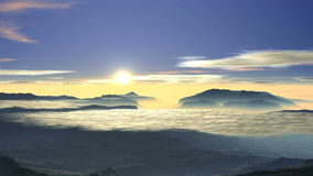 Bright sunrise over the foggy valley stock footage