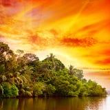 Bright sunrise over lake Stock Photo