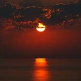 Bright sunrise over the ocean. Bright sun rise over the ocean Stock Photos