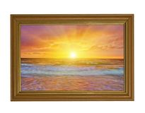 Free Bright Sunset Above Sea In Wood Frame Royalty Free Stock Image - 14681276