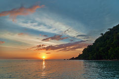 Bright sunset. Beautiful sunset on the island of Langkawi. Malaysia Royalty Free Stock Image