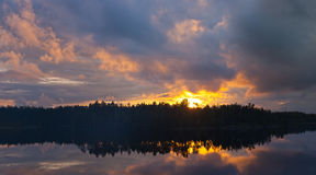 Bright sunset with clouds Royalty Free Stock Image