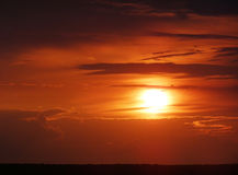Bright sunset in the clouds Royalty Free Stock Image