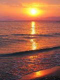 Pink sunset in mediterranean sea Royalty Free Stock Images