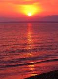 Pink sunset in mediterranean sea Royalty Free Stock Photo