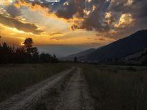 Bright sunset from the mountains stock images