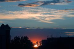 Bright sunset over the city. The bright sunset over the city Stock Photo