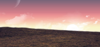 A bright Sunset over field. Sunset over field with copy space Stock Image
