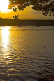 Bright sunset over Potomac River and Key Bridge. Stock Image