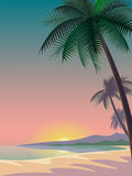 Bright sunset over the sea. deep night sky. royalty free illustration