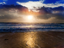 Bright sunset over the sea Royalty Free Stock Photography