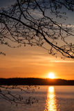 Bright sunset on the Saimaa lake Royalty Free Stock Photography