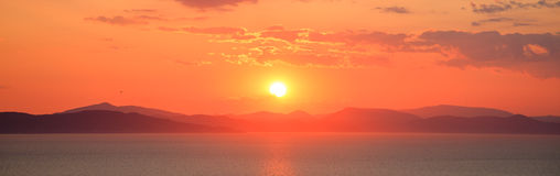 Bright sunset at seascape Royalty Free Stock Photo