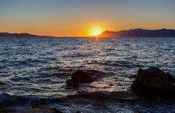 Bright sunset on seaside in Croatian resort Royalty Free Stock Photo