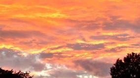 Bright sunset. Setting sun cloudy Stock Photos