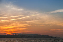 Bright sunset sky above Tangier, Morocco Stock Photo