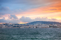 Bright sunset sky over Tangier city, Morocco Royalty Free Stock Photography