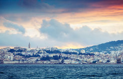 Bright sunset sky over Tangier city, Morocco Royalty Free Stock Photos