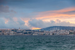 Bright sunset sky over Tangier, Morocco Stock Photo