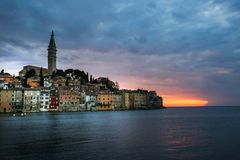 Bright sunset in spectacular romantic old town of Rovinj, Istrian Peninsula, Croatia, Europe royalty free stock photos