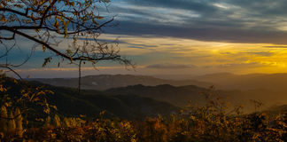 Bright sunset in Troodos Mountains Royalty Free Stock Photos