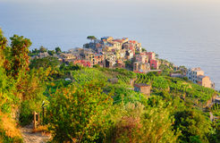 Bright sunset in Vernazza village (Cinque Terre, Italy) Stock Photography