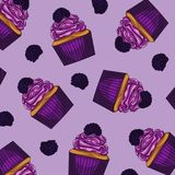 Purple background colorful cakes with  blackberries. Bright , sweet design element.  Purple background colorful cakes with  blackberries Stock Images