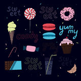 Bright sweet vector composition. Dessert. Sweets. Delicious. Vector background Royalty Free Stock Photography