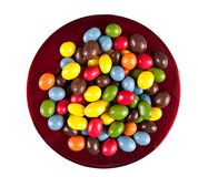 Bright sweets - candy - on plate, isolated Stock Photo