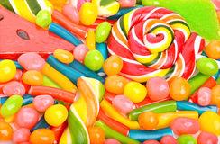 Bright sweets, lollipops, dragee, candies, jellies sweets Stock Images