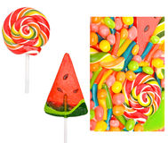 Bright sweets, lollipops, dragee, candies and jelly sweets Royalty Free Stock Photos