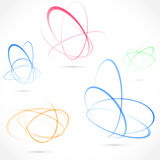 Bright swirl atom orbit element collection Royalty Free Stock Images