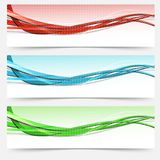 Bright swoosh lines cards set - templates Stock Photos