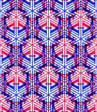 Bright symmetric seamless pattern with interweave figures. Conti Royalty Free Stock Images
