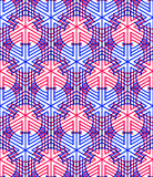 Bright symmetric seamless pattern with interweave figures. Conti Stock Photo