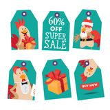 Bright tags with cartoon rooster. Vector illustration Royalty Free Stock Images