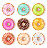Bright Tasty Donuts Top View Set Stock Photo