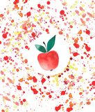 Bright tasty juicy red apple in red yellow spray watercolor blobs Stock Photo